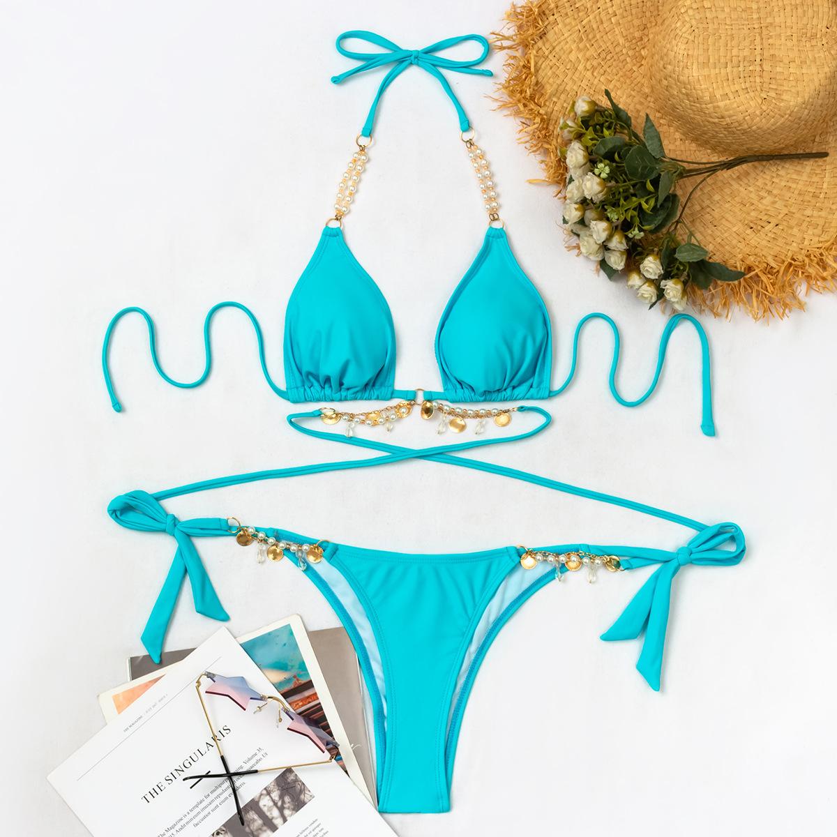 sexy triangle pearl crystal pendant bikini swimwear set NSLUT53571