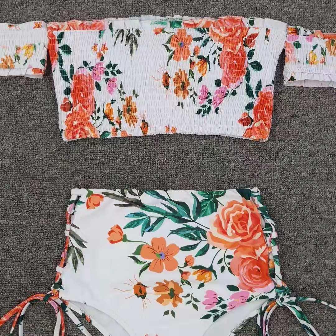 fashion floral printed side tie tankini swimsuit NSLUT54501