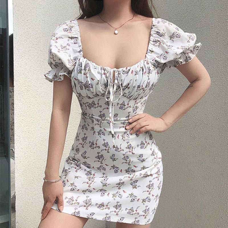 Spring/Summer New Printed Floral Halter Slim Halter Sweet Puff Sleeve Dress  NSYIS56082