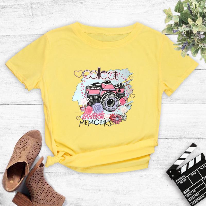 Cute color camera print short-sleeved T-shirt women NSYAY57679